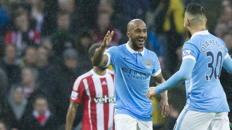 Ab Fab - Delph celebrates his long range goal against Saints. Courtesy@MCFC