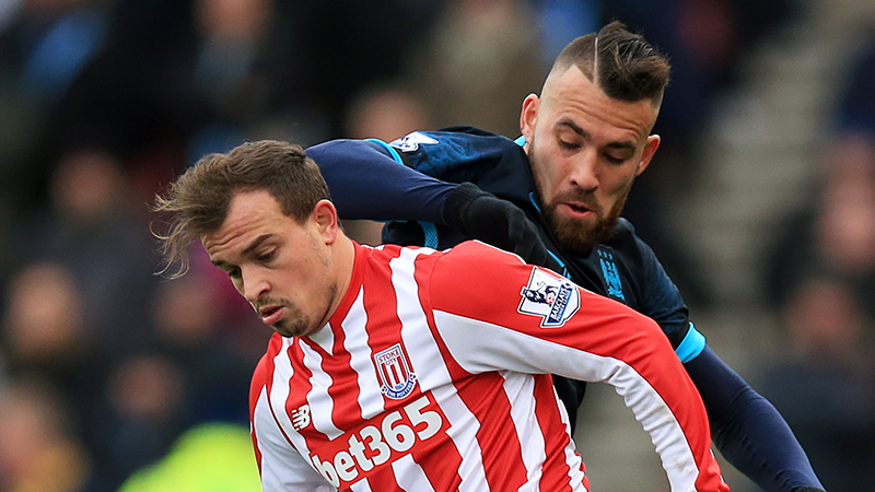 Hot air - Nicolas Otamendi said the windy conditions at Stoke didn't suit City! Courtesy@MCFC