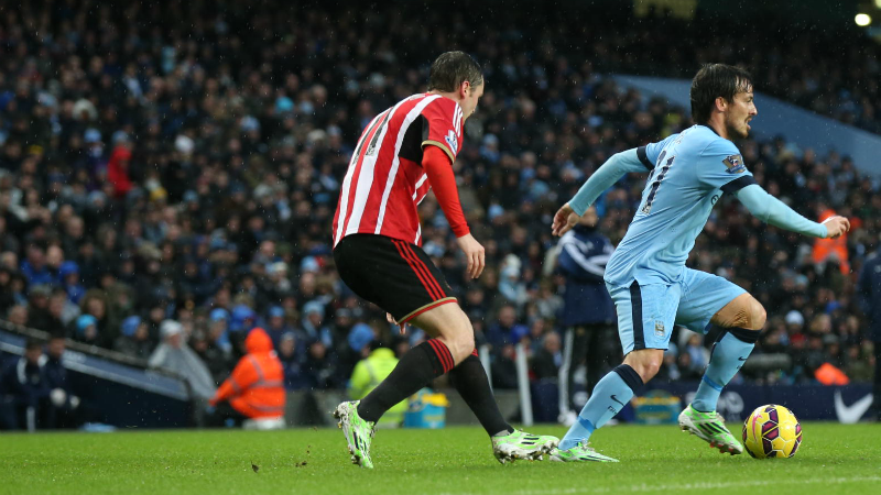 Team mates turned opponents - David Silva helped City to a 3-2 win last New Year's Day against ex-Blue Adam Johnson and Sunderland. Courtesy@MCFC