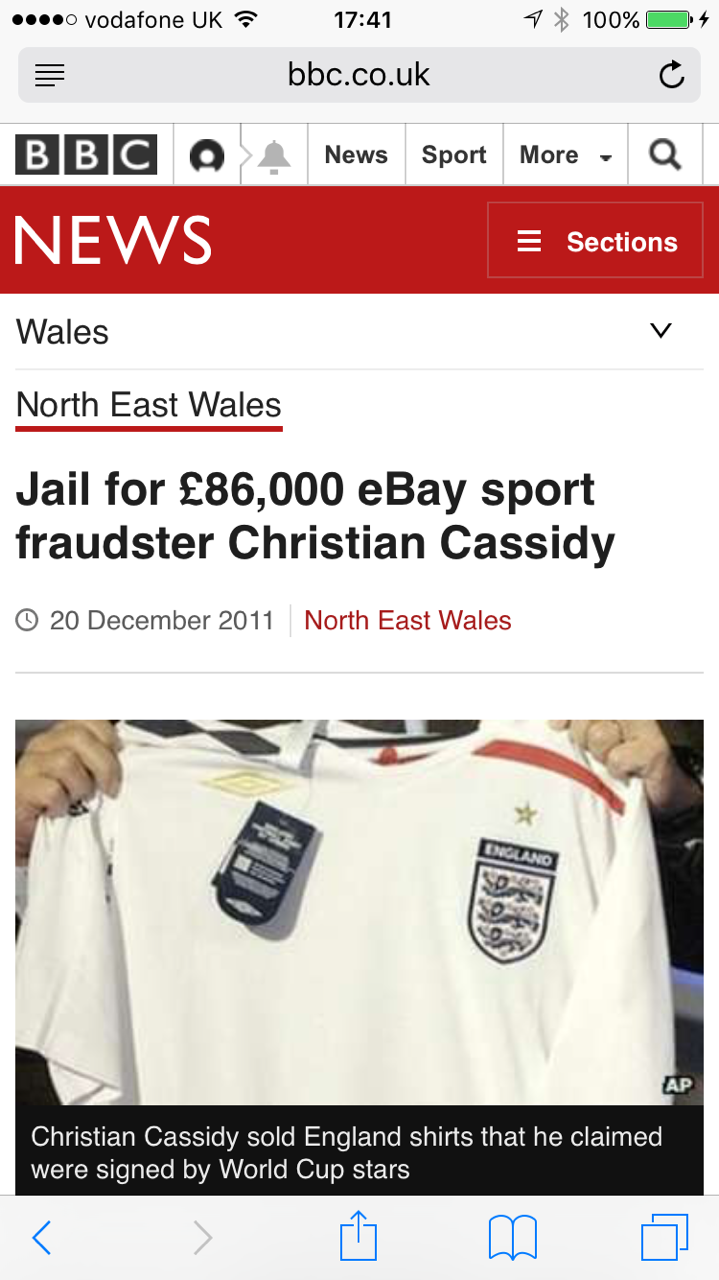 Guilty - Christian Cassidy, sometimes known as Chris Spencer, was sentenced to12 months jail for an £86,000 sports memorabilia fraud.