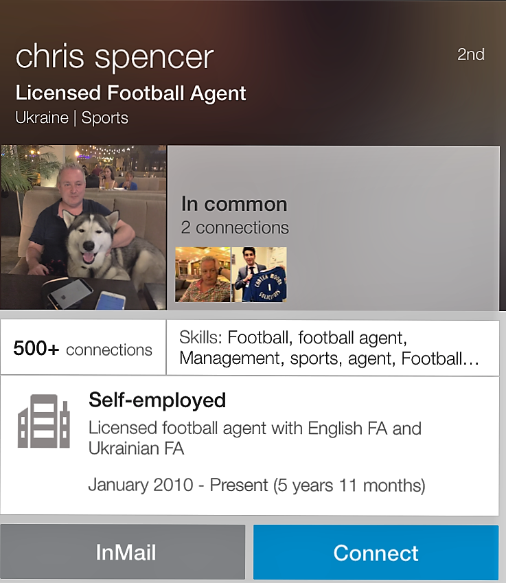 Crooked - Chris Cassidy likes to call himself Chris Spencer on his Linked In profile as a Licensed Football Agent. He was found guilty of an £86,000 eBay fraud selling fake sports memorabilia.