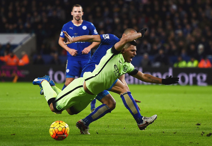 Penalty shouts - City have been denied numerous 'stonewall' penalties this season, including this foul on Sergio at Leicester in December.