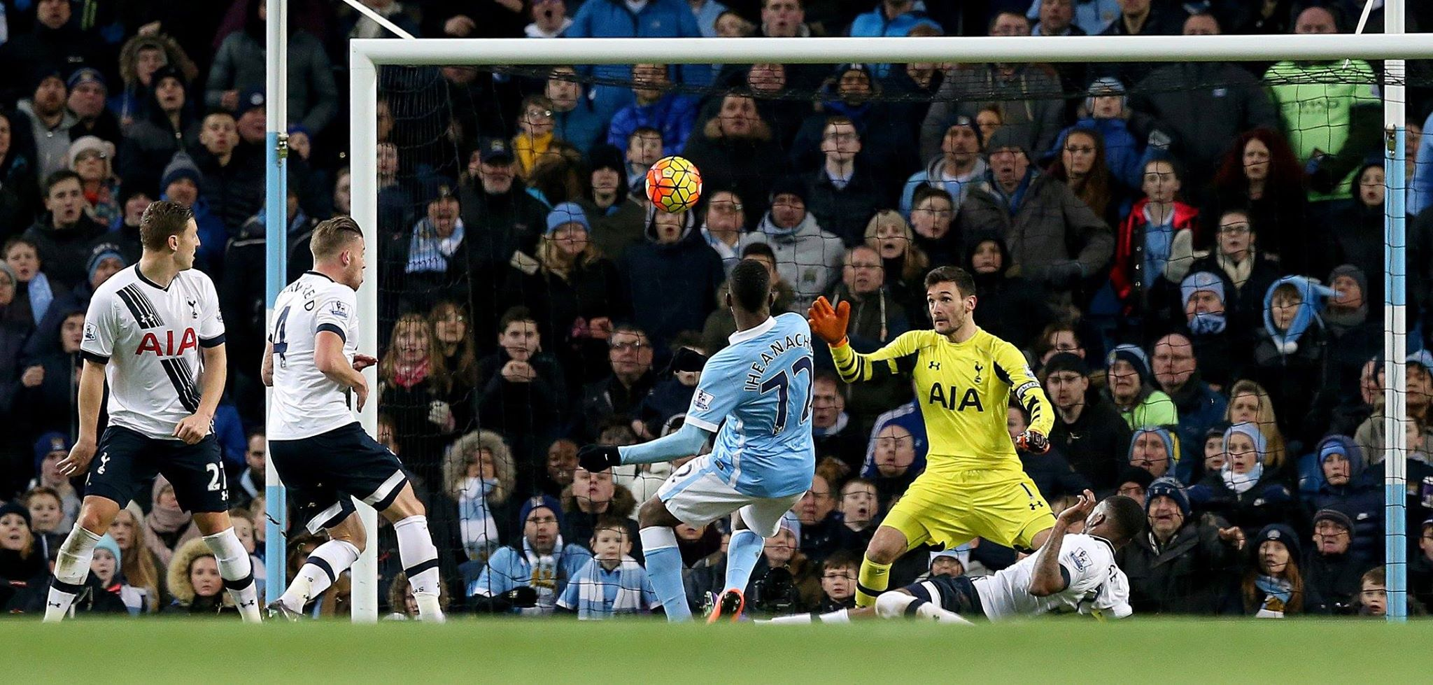 Nacho man - Kelechi smashes home City's equaliser. Courtesy@MCFC