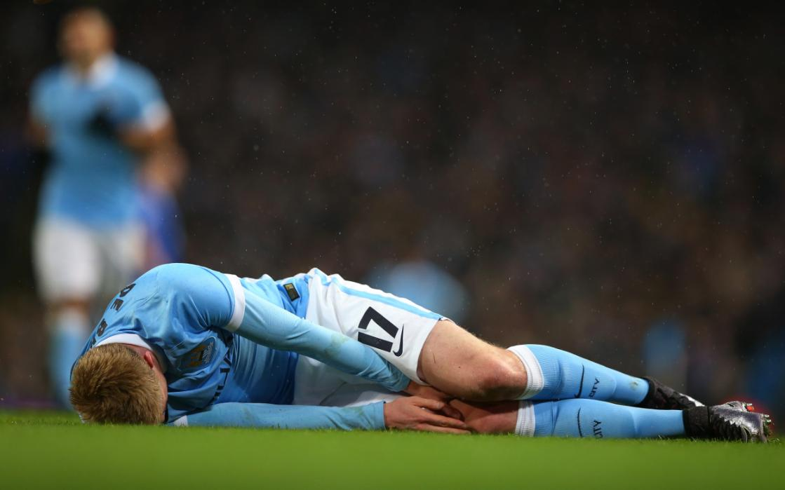Stricken - KDB is out of the City side until mid-April - yet another casualty in City's injured plagued season.