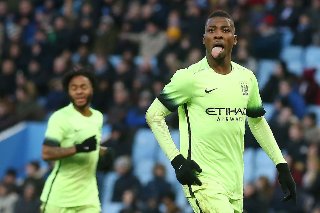 Go give Spurs a good licking! Hat-trick hero Kelechi celebrates at Villa.