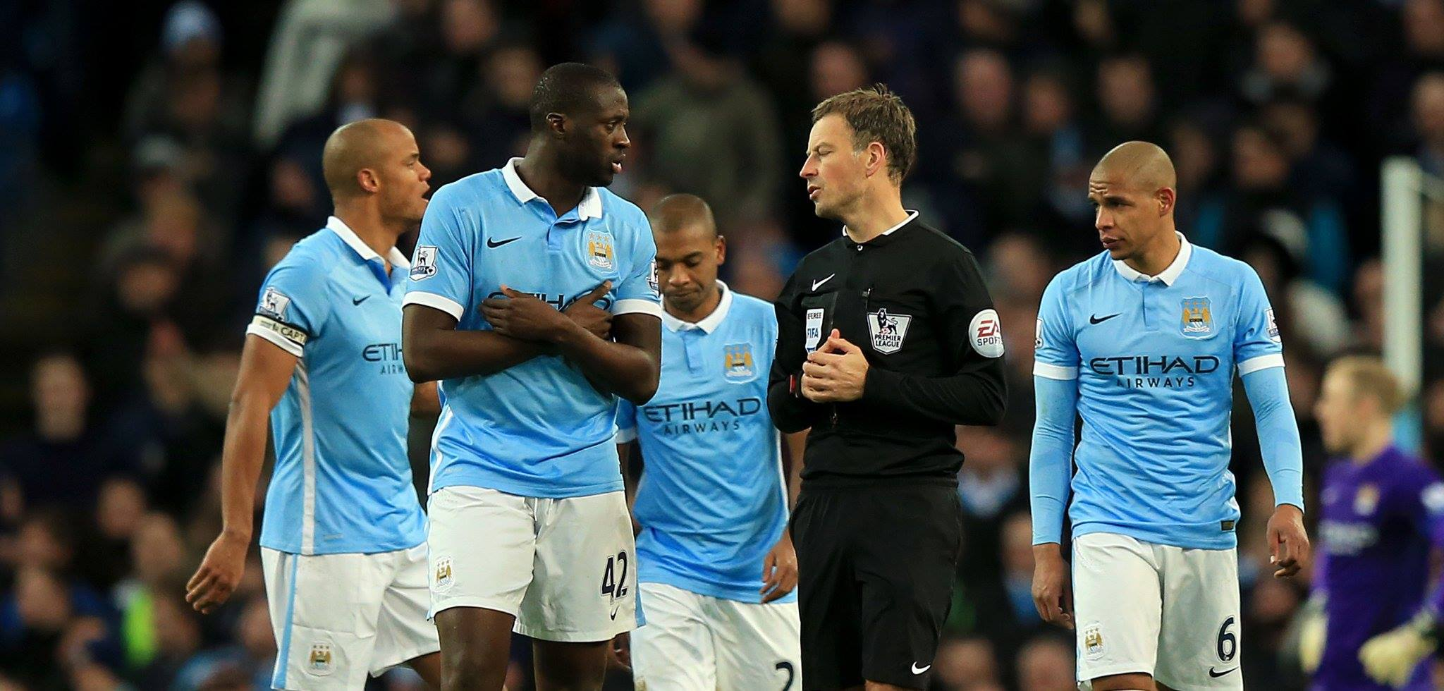 Gobsmacked - City's players cannot believe Clattenburg's penalty decision.