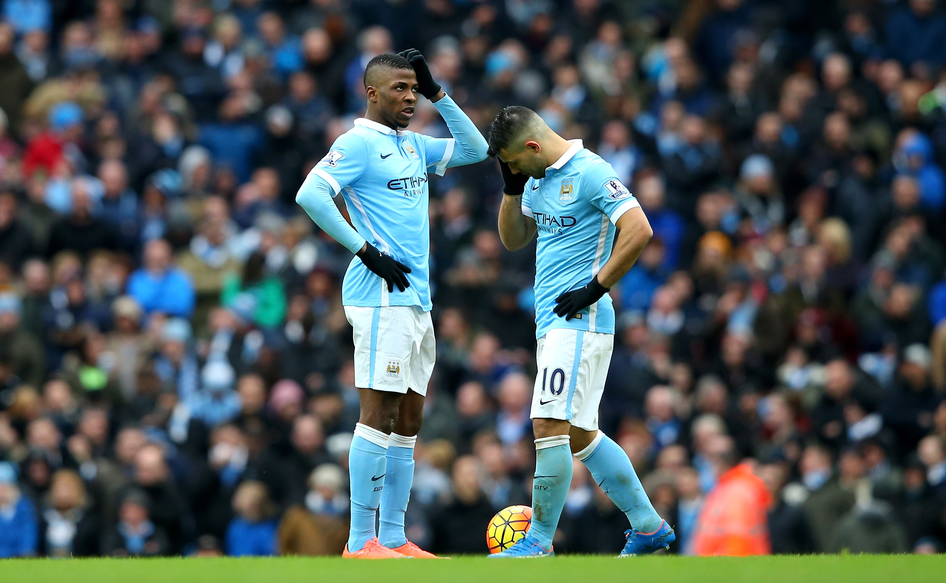 Head-scratching - Kelechi and Sergio are deflated after Spurs' winner. Courtesy@MCFC