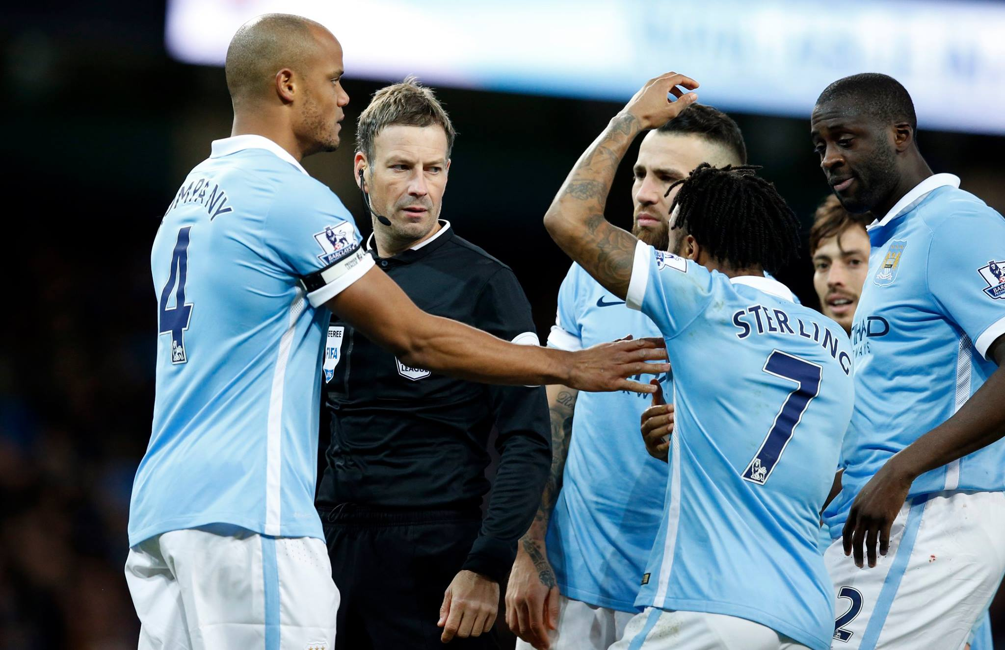 Never a penalty - Sterling protests his innocence to no avail. Courtesy@MCFC