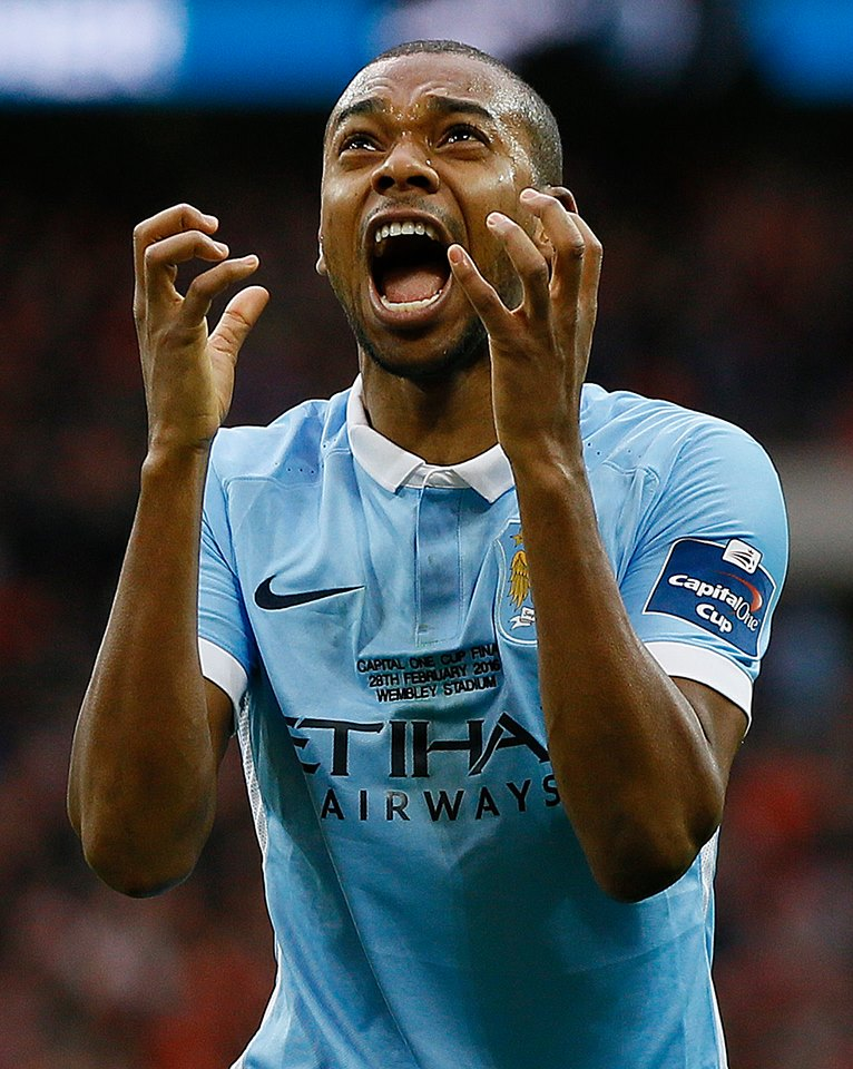 This is how it feels to be City - Dino celebrates his goal in the League Cup Final. Courtesy@MCFC