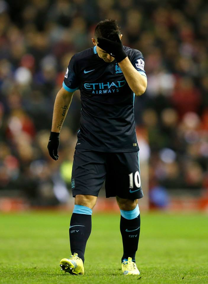 Anfield Agony - Sergio and the team were anonymous losing 3-0 to Liverpool. Courtesy@MCFC