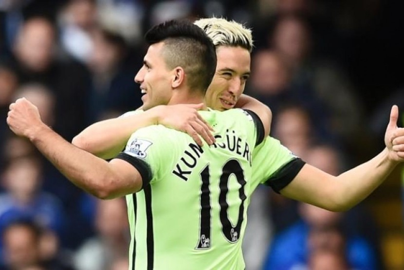 Goal provider - Nasri notched an assist as Aguero netted City's second against Chelsea.