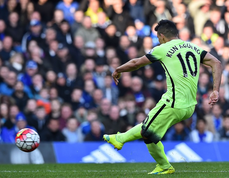1-0 - Sergio opens his and City's goal account at Stamford Bridge.