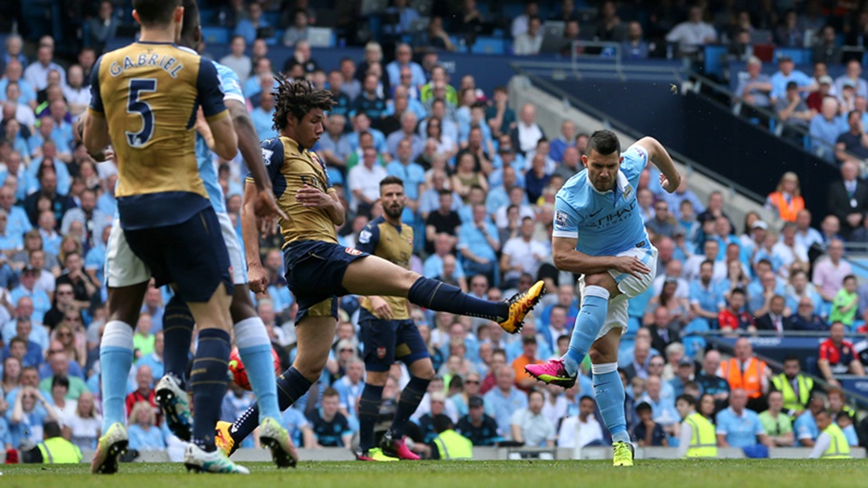 Hot shot - Sergio opened the scoring against Arsenal but City had to settle for the draw.