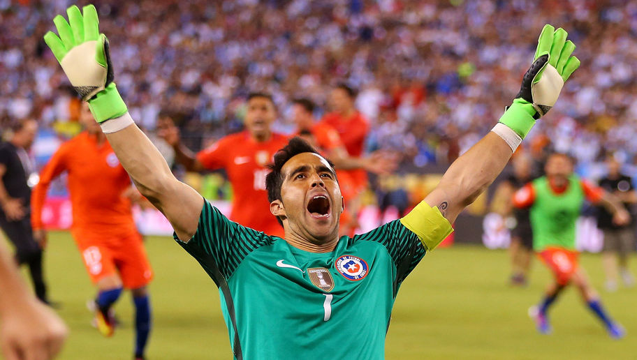 BRAVO Claudio - City's new keeper celebrates after Chile defeat Argentina to win the Copa America 4-2 on penalties.