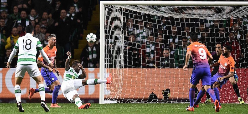 Kolarov calamity - misfiring AK47 present Dembele with the chance to put Celtic 3-2 up.