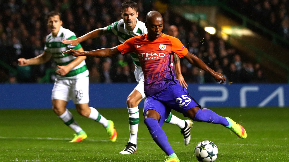 Brazilian sunshine - Fernandinho helped warm the hearts of City's wet and weary fans with the first equaliser at Celtic.