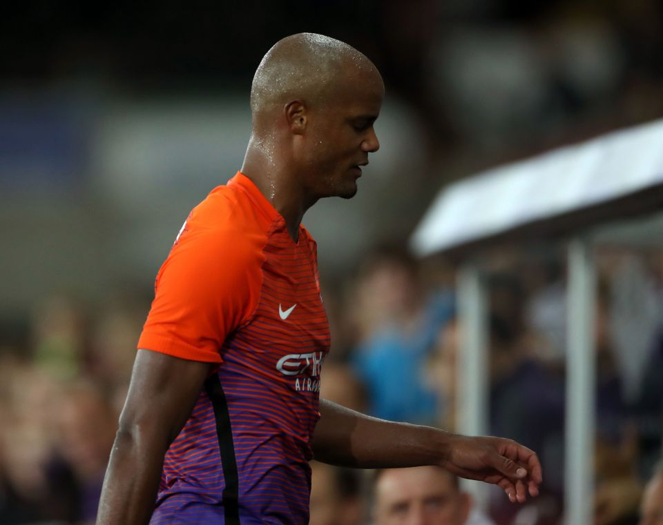 Bad Kompany - City's injured skipper leaves the field at Swansea with minutes to go in the Blues 2-1 League Cup win.