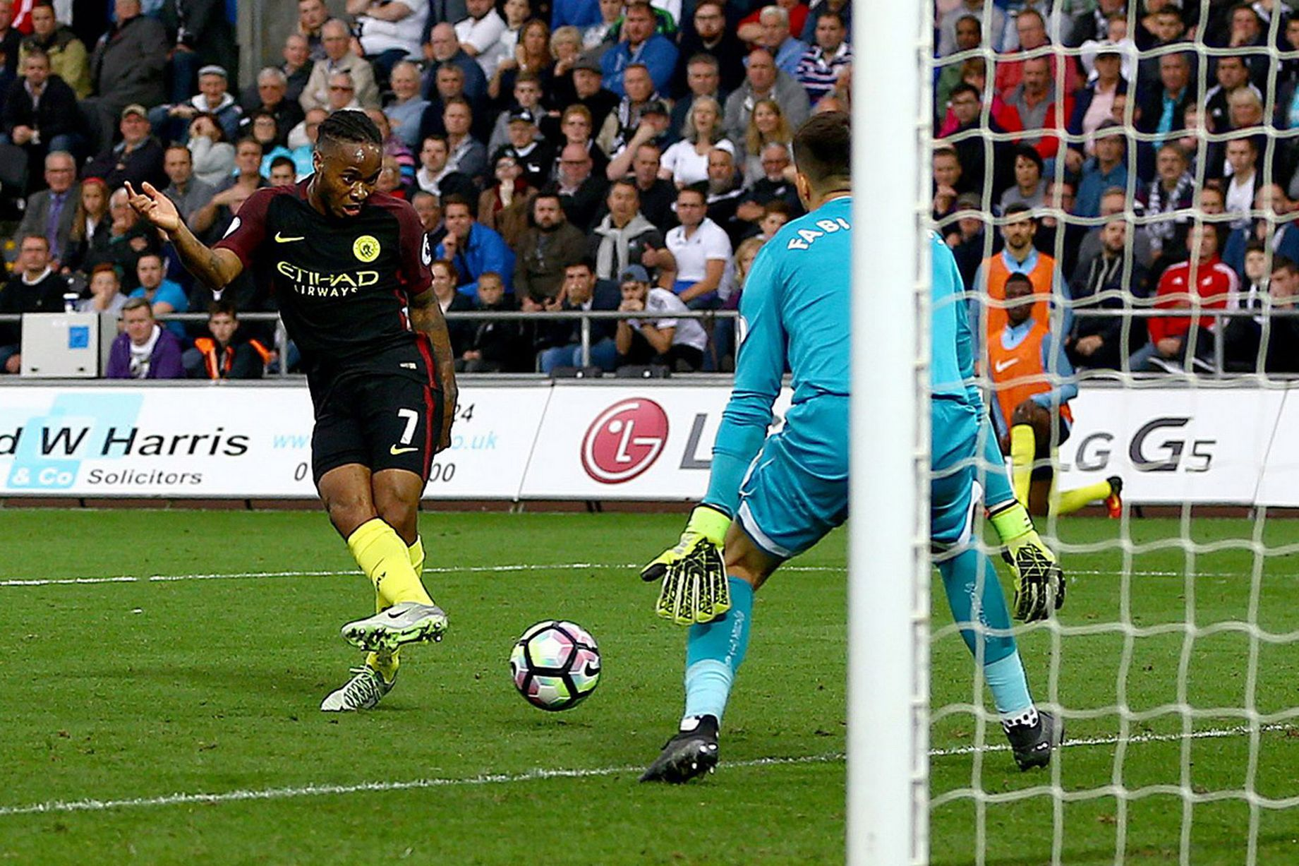 Sterling on the rise - Raheem deposits the ball in the back of the Swansea net to secure the 3-1 win.