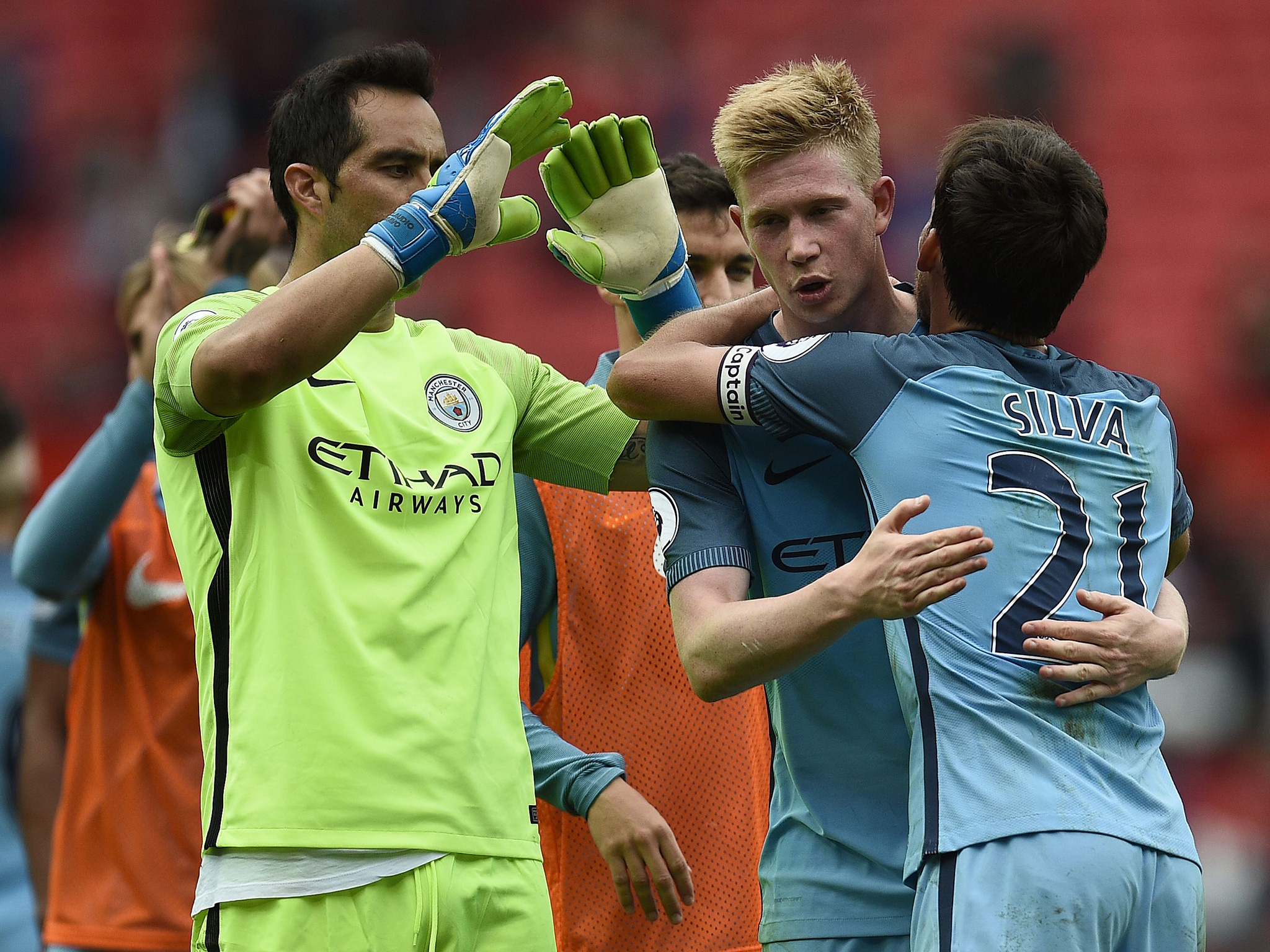 Mission Accomplished - City celebrate their derby day win.