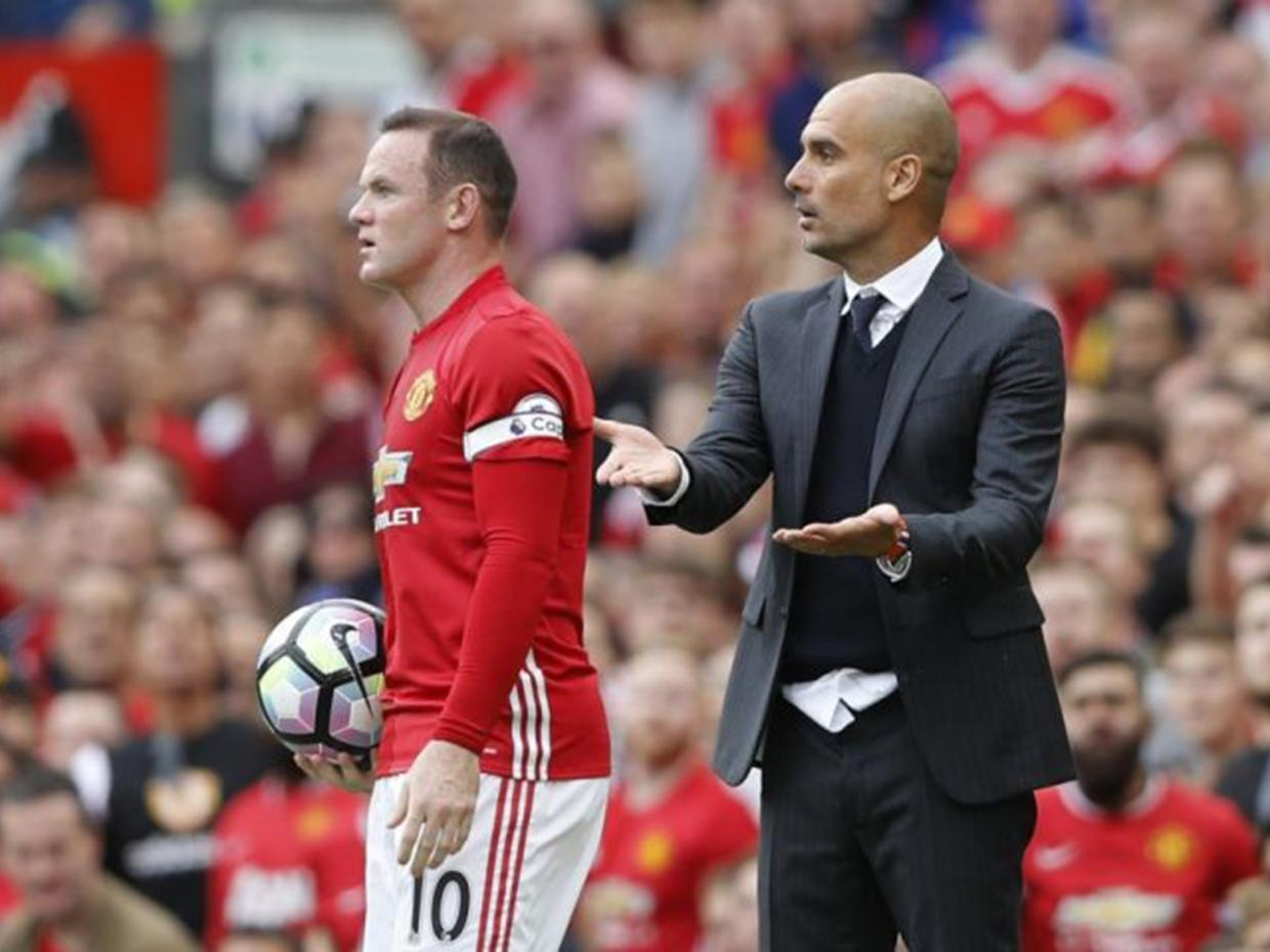 Pep talk - Rooney used some choice words on Guardiola but the City manager laughed it off - it's what winners do.