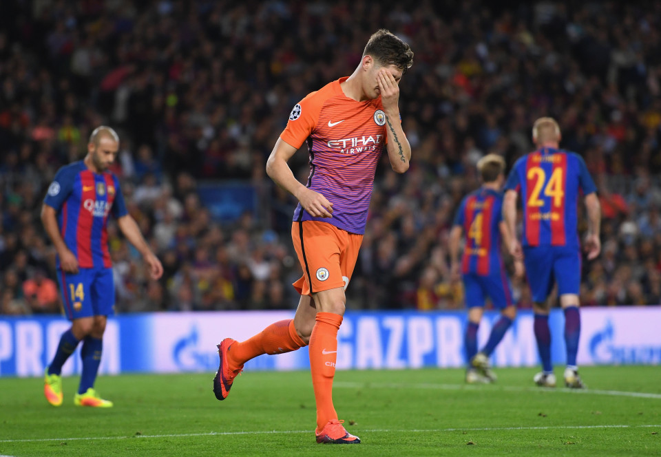 Stone the crows - John Stones can't believe he's just missed the target with a header that would have levelled the scores at 1-1 in the Nou Camp.