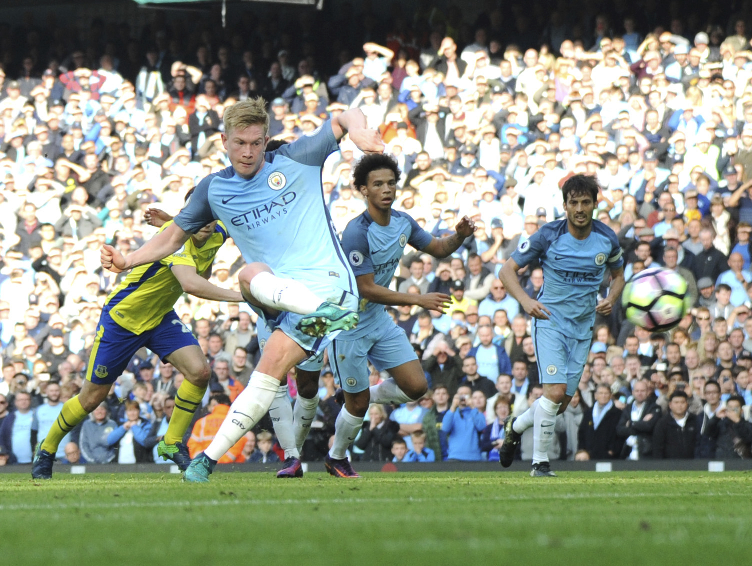 Paying the penalty - Kevin De Bruyne misses the first of City's two penalties against Everton.