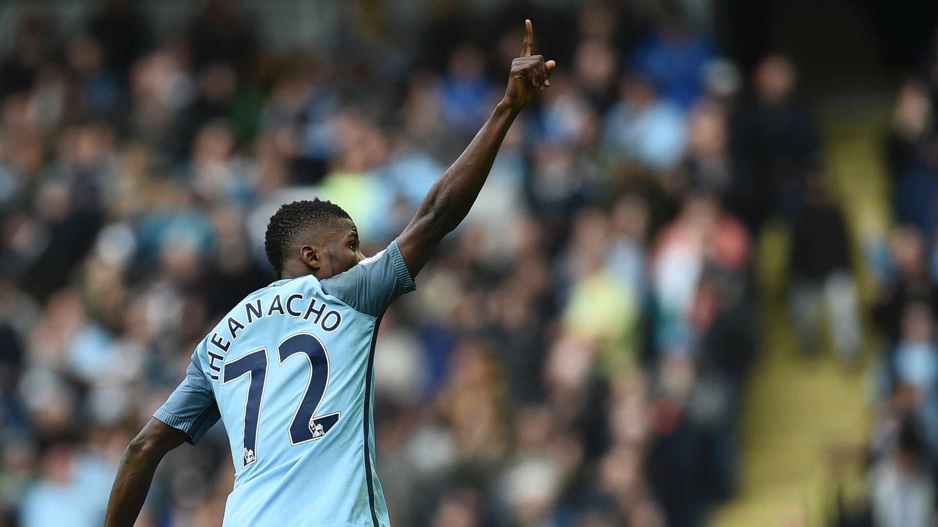 Etihad Salute - Kelechi acknowledges the cheers after equalising for City against Southampton.
