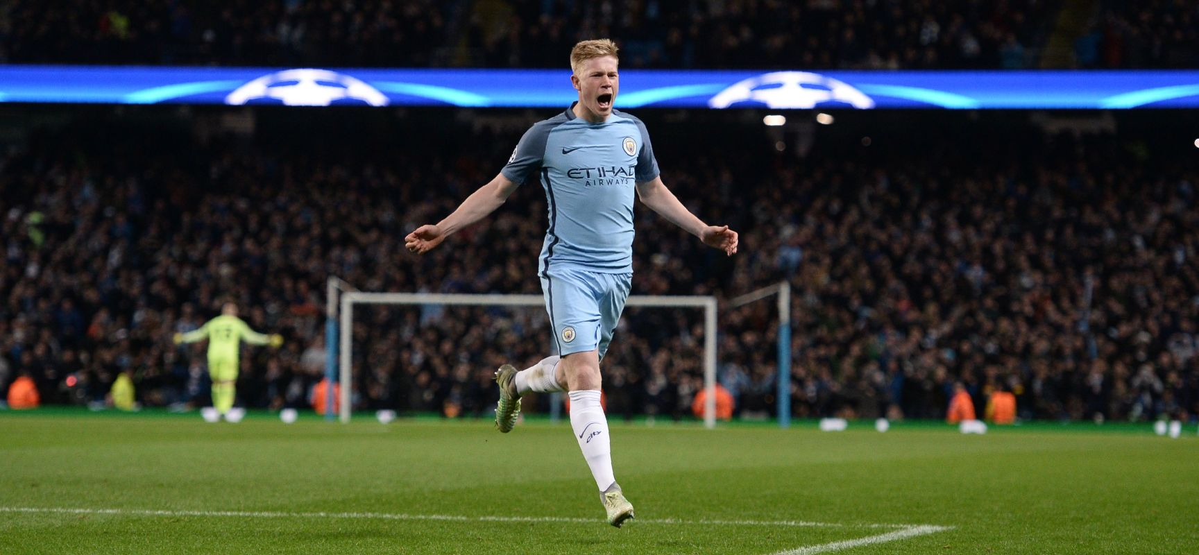Kevin De Bruyne celebrates his sensational goal giving City a 2-1 lead over Barcelona.