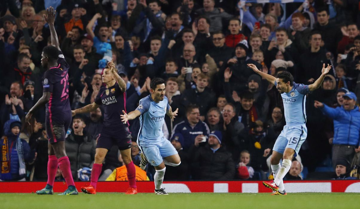 Joy before the heartache - Ilkay Gundogan bagged a brace against mighty Barcelona before being cruelly cut down against Watford, his season now being over.