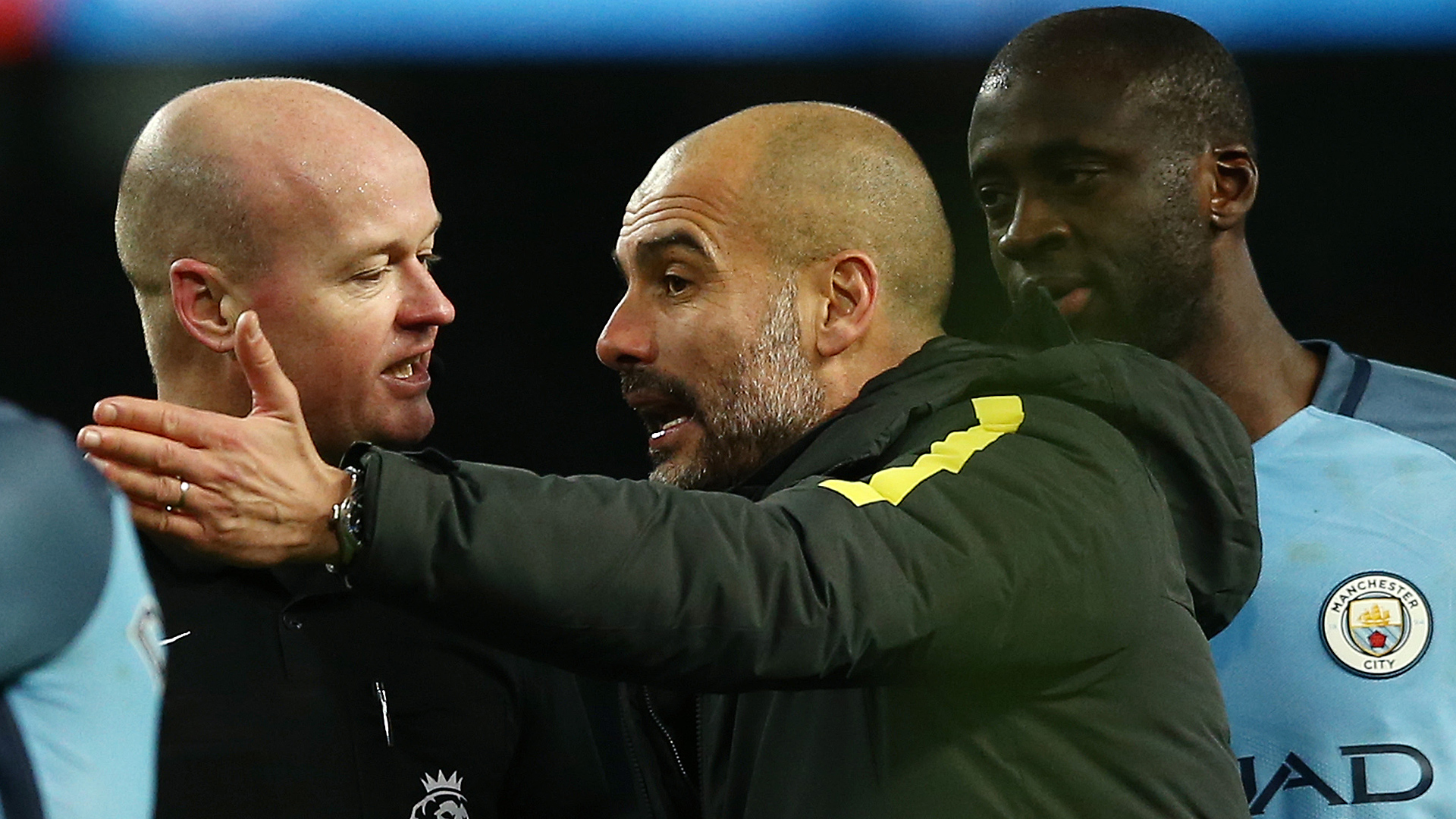 Pep remonstrates with 'Bolton fan' Lee Mason during his woeful mishandling of City's 2-1 victory over Burnley.