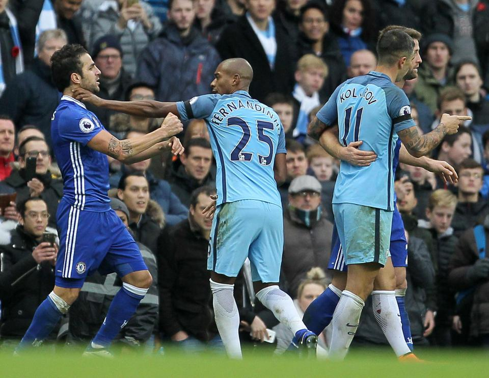 Fabregas slapped Fernandinho in the face and received a proverbial 'slap on the wrist'. Dino saw red.