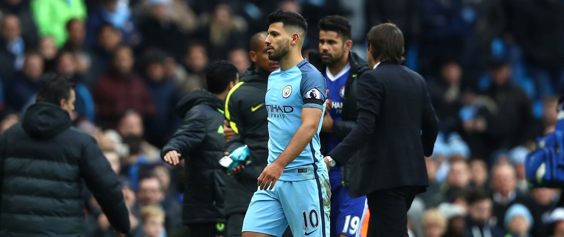 Another one bites the dust - Aguero is sent off against Chelsea as the red cards stack up against City this season.