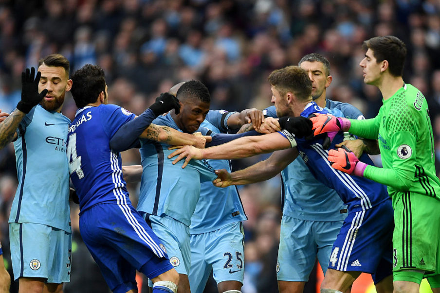 Chelsea should have had three players sent off against City last December - none saw red. City had Aguero and Fernandinho dismissed! Strange decision-making from the referee!