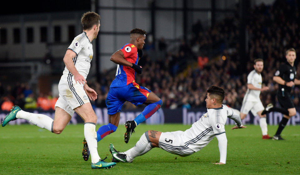 Red for a Red? No, hardly ever - United's Rojo only received a yellow card for another blatant sending off offence, this time against Crystal Palace.