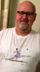 Read But Never Red competition winner Dave Leyland proudly wears his 'Aguero Moment' T-shirt, courtesy of the Art of Football & RBNR.