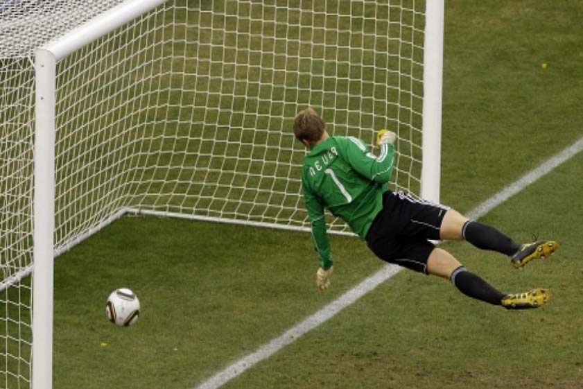 Did it cross the line - errr yes, just a bit! Frank Lampard's disallowed 'goal' for England against Germany in the 2010 World Cup - the catalyst for today's goal line technology.