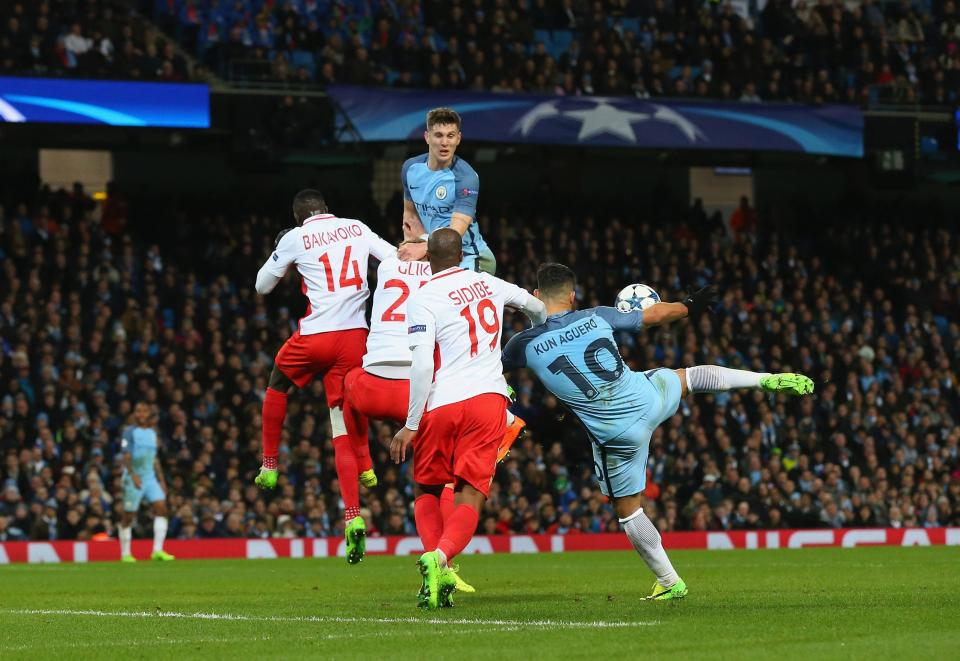 On the volley - Sergio fires home City's equaliser to make it 3-3 in the stunning 5-3 comeback win over Monaco.