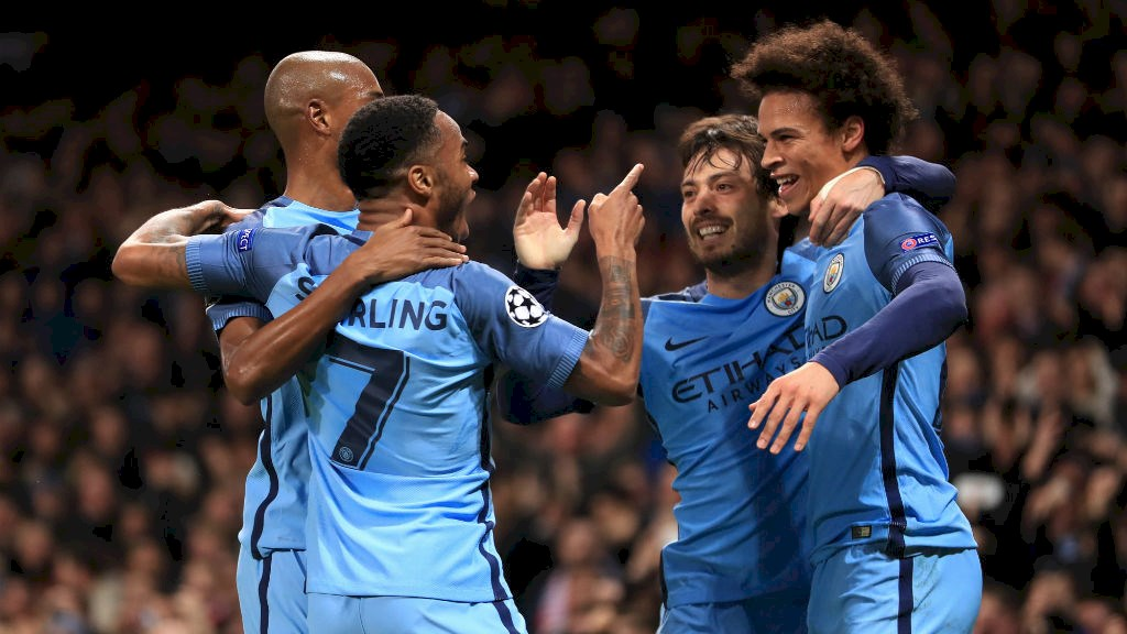 Celebrate - City's players experienced a rollercoaster of emotions in a 5-3 humdinger against AS Monaco.