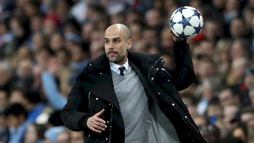 Having a ball - Pep Guardiola saw his side win a 5-3 thriller against Monaco.