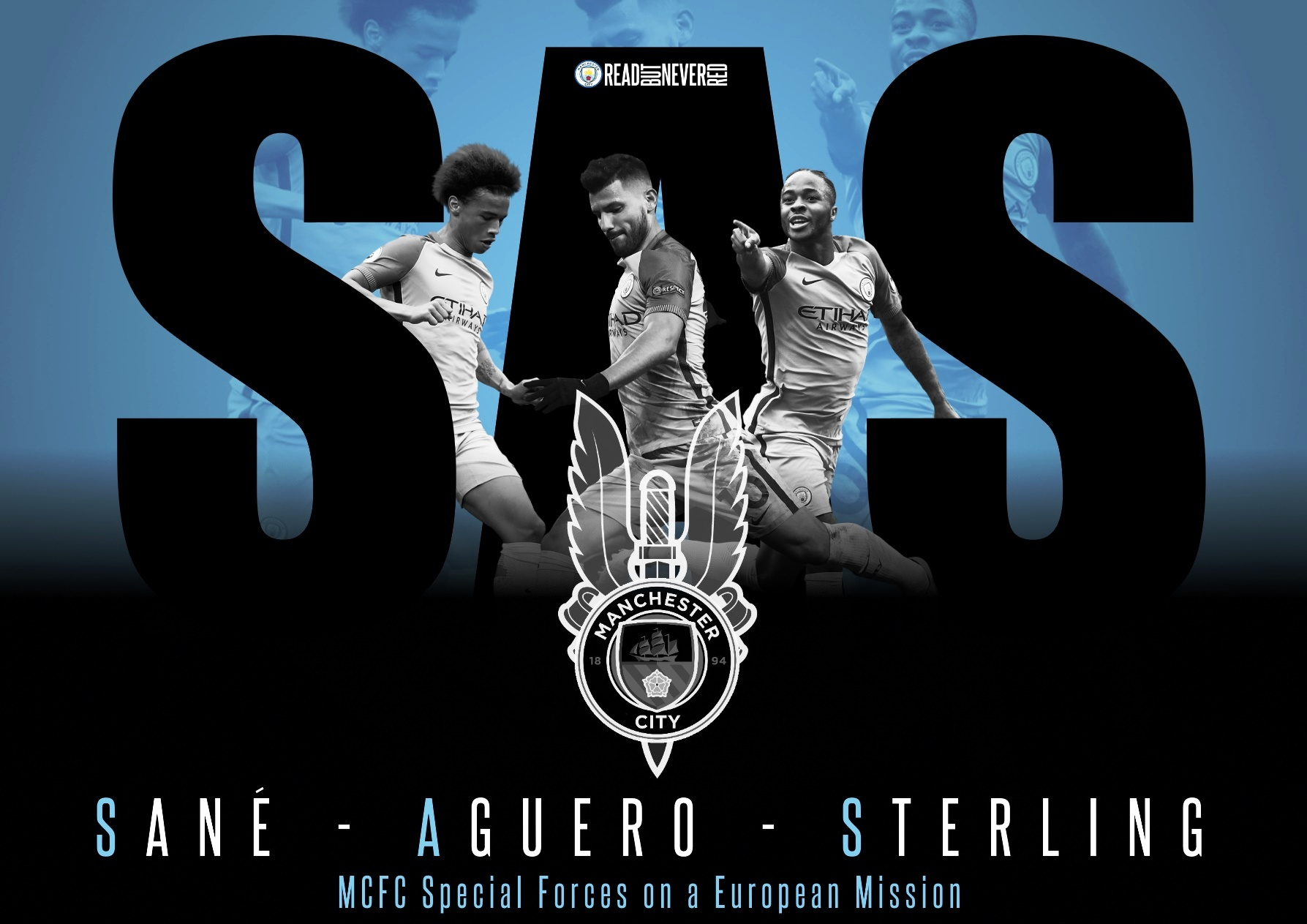 City's new look SAS strike force - Sane, Aguero & Sterling. Bespoke image courtesy of Stiz from our BlueRoom sponsors.