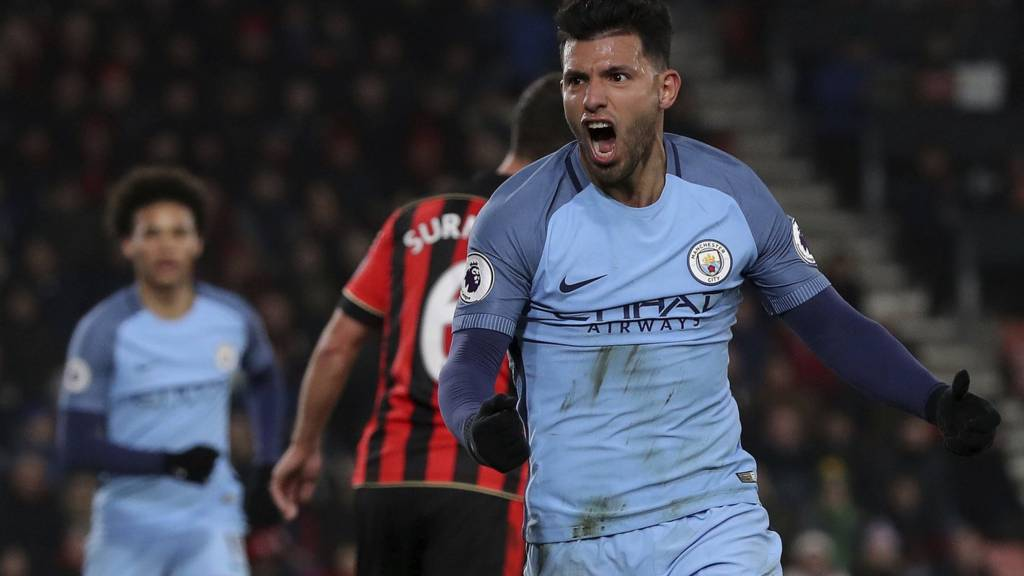 Fired up - Sergio celebrates City's second goal at Bournemouth and one that should have been his 155th for the club.