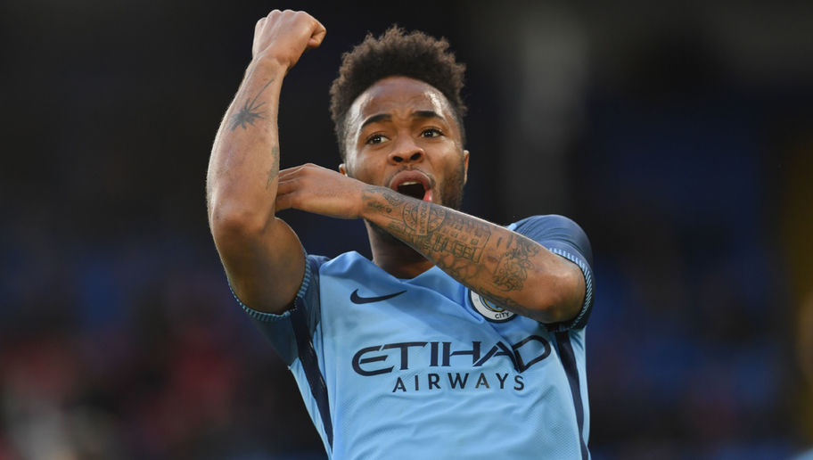Up Yours - Raheem celebrates his FA Cup goal at the Palace with a message for his detractors.