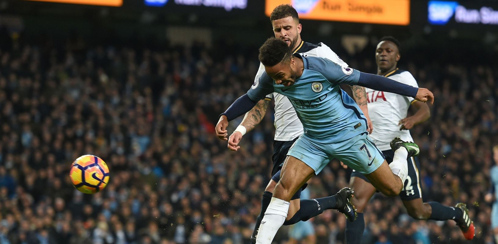 Stonewall Sterling penalty - Raheem is denied a nailed on penalty appeal after being fouled by Spurs' Kyle Walker.