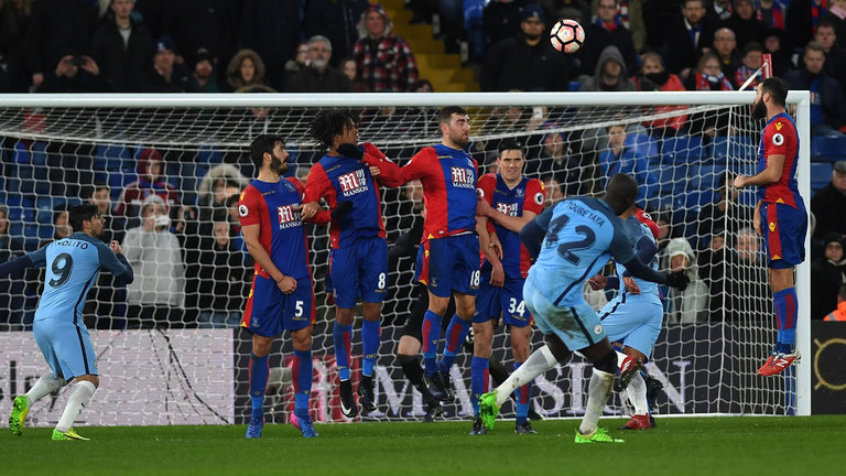 On song Yaya - Toure fires home a glorious free kick down at the Palace.