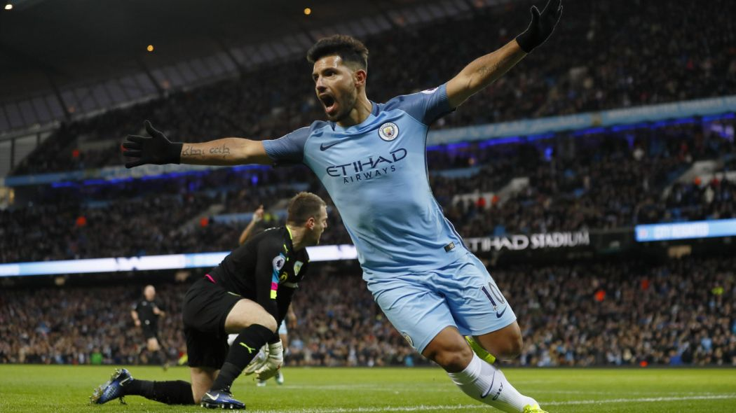 Looks familiar - Sergio celebrates another City goal, this time against Burnley last month.