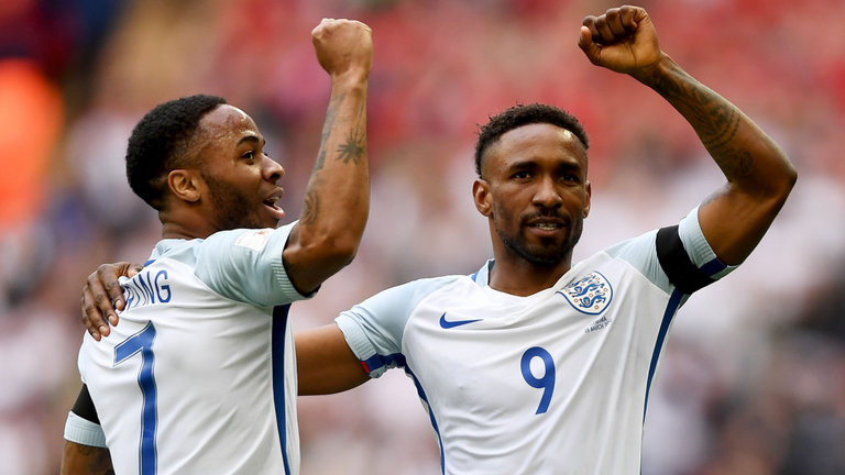 International break - City's Raheem Sterling provided the assist for Jermain Defoe to score England's opening goal against Lithuania.