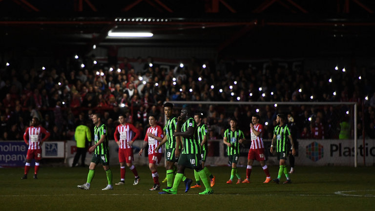 Lights out - floodlight failure at the Wham Stadium was caused by Stanley turning on the electric showers!