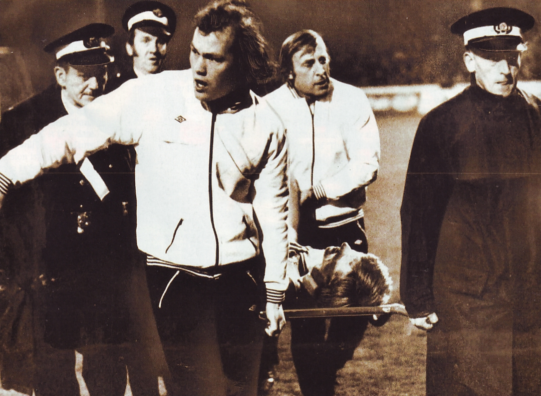 A football tragedy - Colin was stretchered off with his knee wrecked by Martin Buchan as City trounced United 4-0 in the League Cup back in 1975.