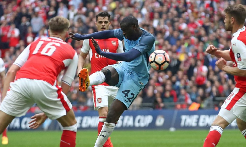 So close - Yaya nearly scored another vital FA Cup goal at Wembley, only to be denied by the post.
