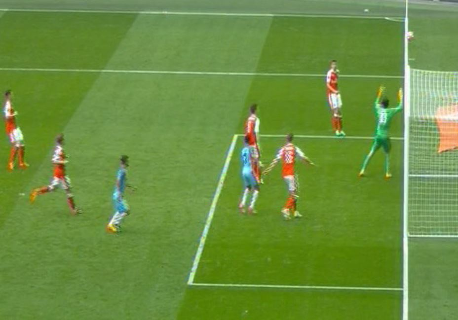 Cheated - the ball clearly stays in play prior to City's first half goal being ruled out at Wembley.